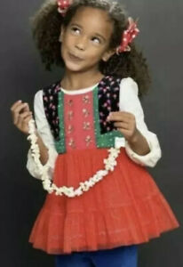 NWT-Matilda-Jane-CAROLING-AWAY-Top-Holiday-Sparkle-Red-Tulle-Make-Believe-Size-6