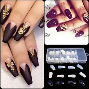 Details about 100/600Pcs Long False Ballerina Nails Full Cover Coffin Shape  Nail Art Tips