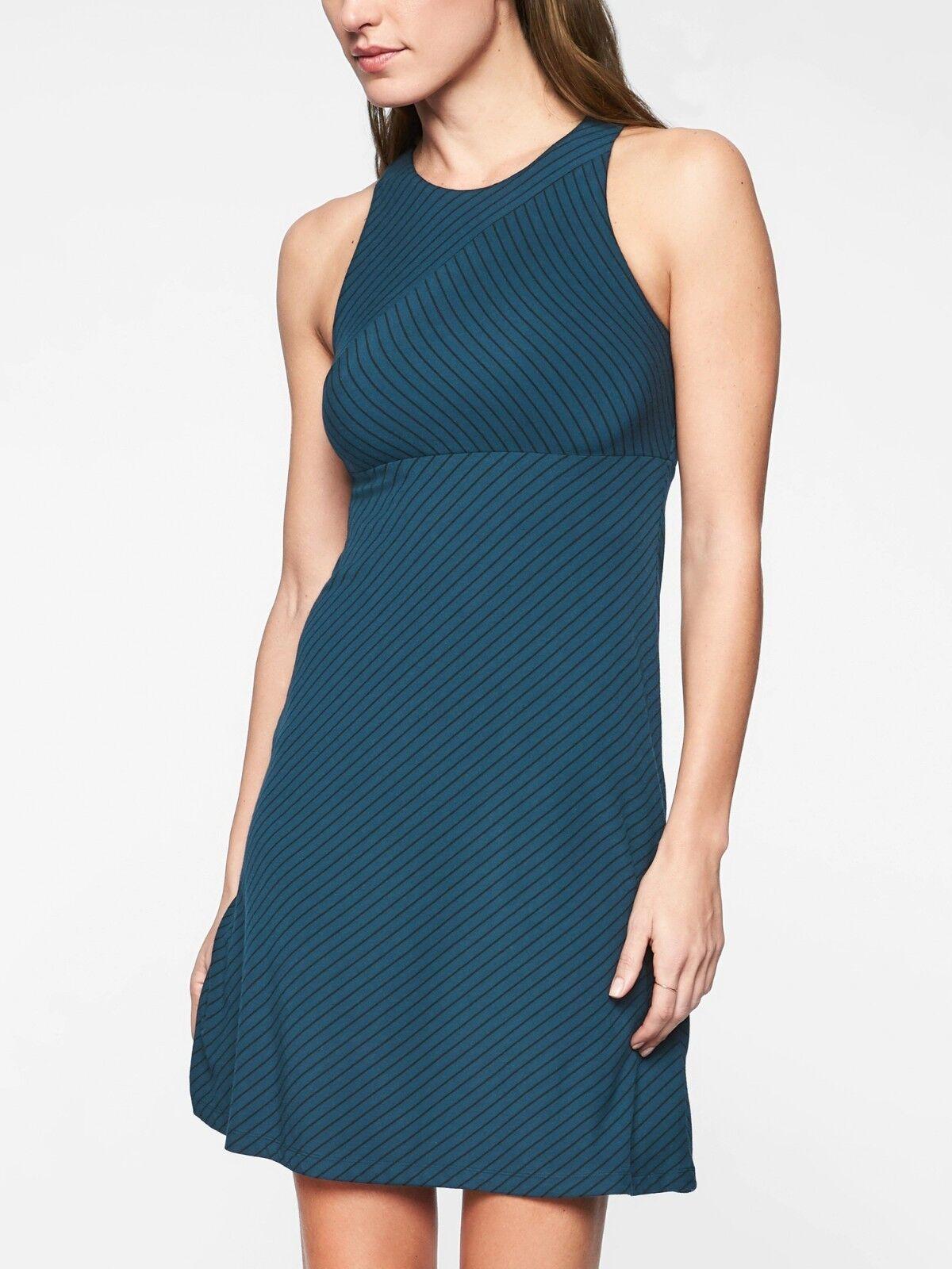 Athleta Santorini High Neck Mix Stripe Dress,Constellation Blau Größe L