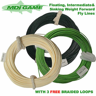MDI Assorted Pack of 3 Weight Forward Fly Lines -Float, Intermediate & Sink