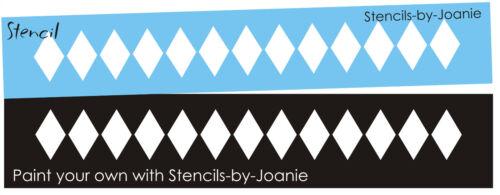 "Diamond Border Stencil 1.25/"" tall Harlequin Texture Design Wall Art Shabby signs"
