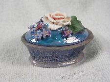 Antique German Elfinware Oval Trinket Box - Large Pink Rose, Blue Forget Me Nots