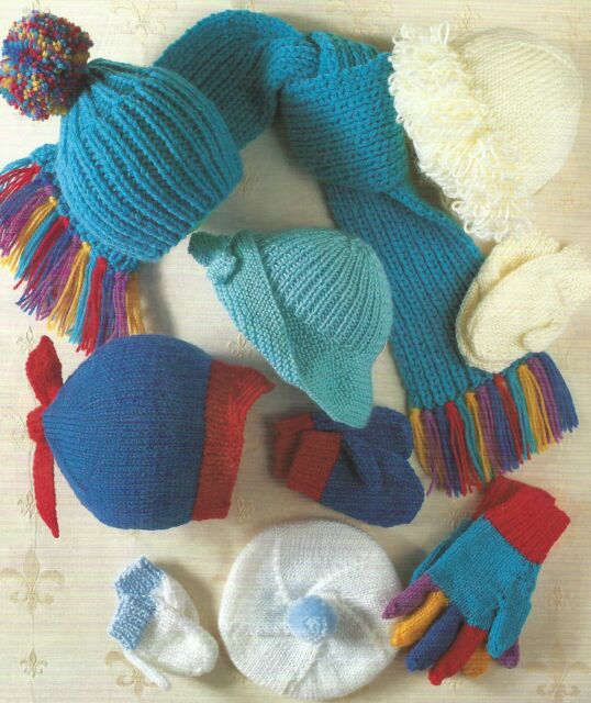 Baby Girls Boys Hats Scarf Mittens Gloves Knitting Pattern 0 12