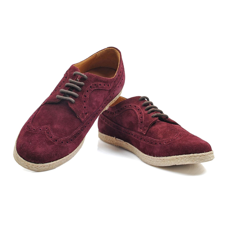 Canali Burgundy Suade Oxford scarpe Dimensione US 10.5 EU 43.5 NEW CSH44