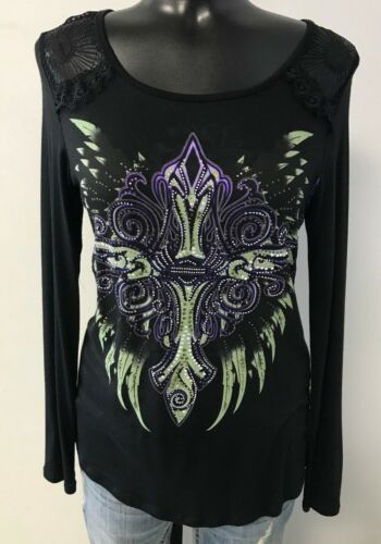 Harley Davidson Dusty Wings Women/'s Bling Shirt
