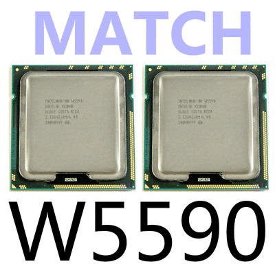 Intel Xeon W5590 Quad-Core 3.33GHz SLBGE CPU Processors 2 Matched Pair of Two
