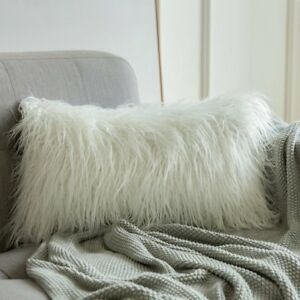 Faux Fur Decorative Pillow.Details About Miulee Christmas Decorative New Luxury Series Style White Faux Fur Throw Pillow