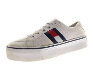 TOMMY JEANS Flatform Flag Damen Schuhe Sneaker Laufschuhe Gr 38 Weiß