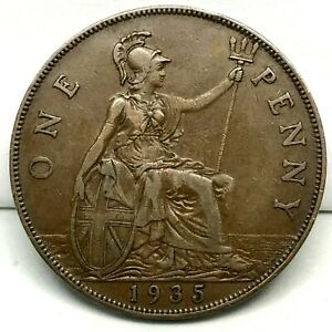 1935-GREAT-BRITAIN-GEORGE-V-ONE-PENNY-BRONZE-COIN-KM-838