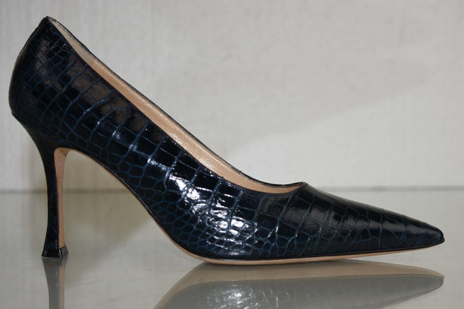 Neuf Manolo Blahnik Bleu Marine Alligator Crocodile Chaussures 37.5 Bb Talons 37.5 Chaussures 7cb9cc