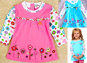 Girls Cotton Long Tunic Top Flared Floral Daisy Embroidery Long Sleeves 2,4,6YRS