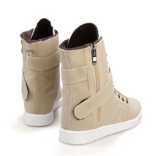 Korean Mens Stylish Lace up Snow Warm Winter Plush Cotton Autumn Ankle Boots New