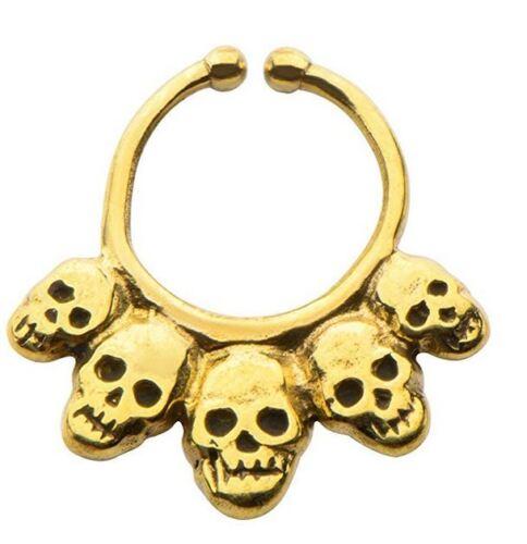 Brass Faux septum nose ring clicker body jewelry piercing prong ear lip w142
