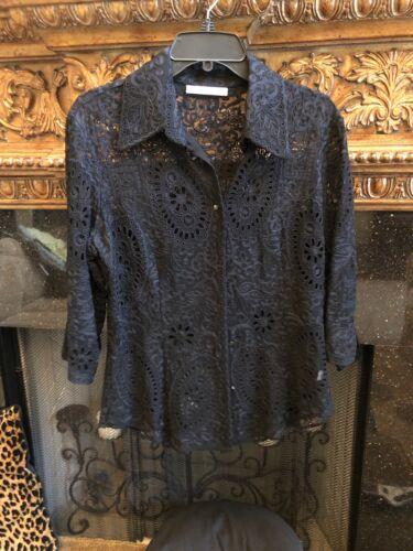 Naeem Khan Black Sheer Heavy Lace Button Down Size