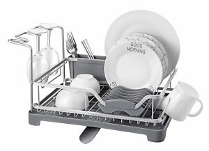 Dish-Drainer-Rack-Kitchen-Sink-Washing-Plates-Cutlery-Draining-Board-Holder-Cup