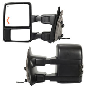 BLACK POWER TOWING MIRROR PAIR+HEAT+AMBER LED SIGNAL FOR 99-07 FORD F SUPER DUTY