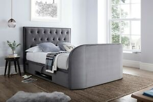 Miraculous Details About Lyon Grey Velvet Fabric King Size Ottoman Media Tv Bed Holds Up To A 43 Tv Andrewgaddart Wooden Chair Designs For Living Room Andrewgaddartcom