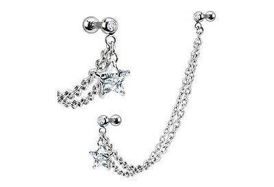 STAR Chain Dangle Tassel TRAGUS CARTILAGE Helix EAR Cuff Rings Piercings Jewelry