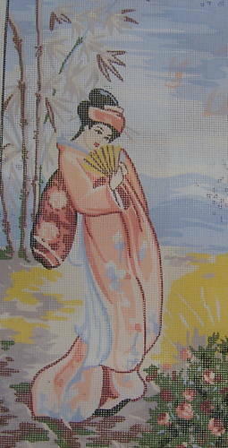 Geisha In Peach Pink Kimono Oriental Tapestry Needlepoint Canvas Craft