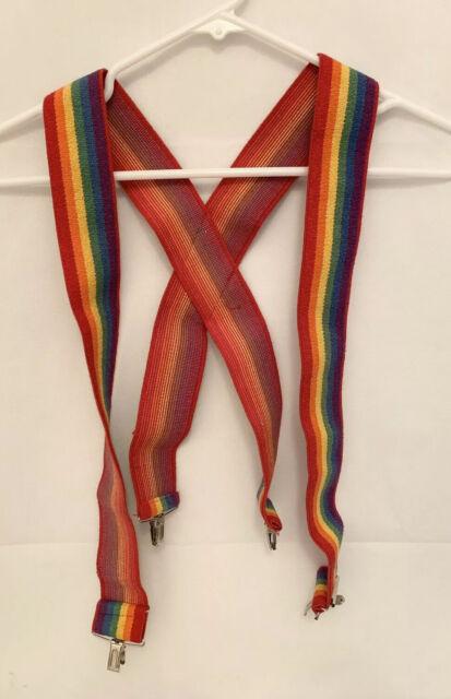 """Rainbow Suspenders 2"""" Wide Adjustable Mens Woman's Gay Pride LGBT"""