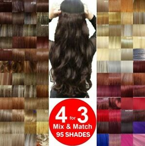 CLEARANCE-Clip-in-Hair-Half-Head-1-Piece-Curly-Straight-feels-real-Honey-Golden