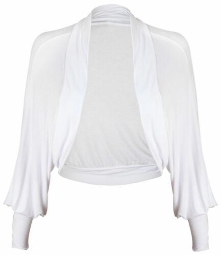 Womens Batwing long Sleeves Ladies Jersey Casual Bolero Cardigan Stretchy Shrug