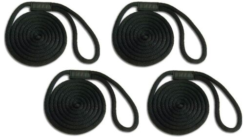 "BLACK Floats Solid Braid Nylon Dock Line 1//2/"" x 25/' 4-PACK! Fade Proof USA"
