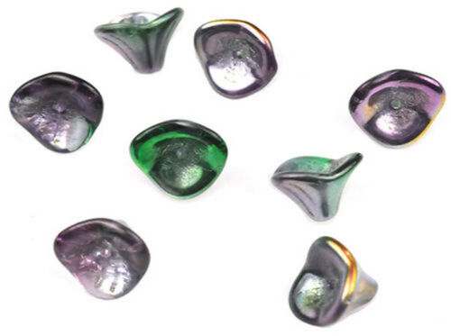 12 trois Pétales Tchèque Verre Fleur perles 12 mm opaque /& transparent Couleurs