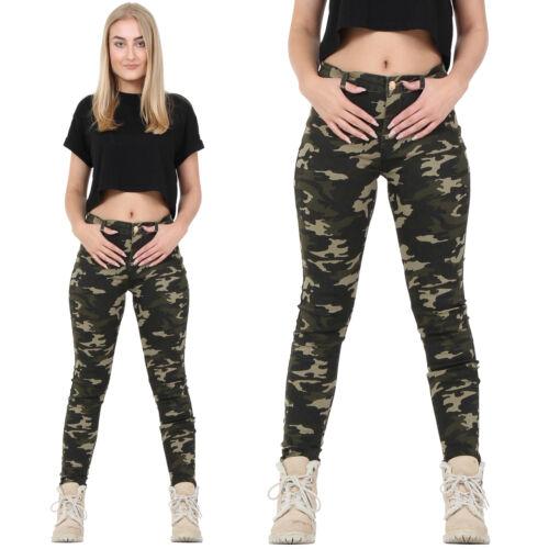 NUOVA linea donna verde scuro Esercito Mimetico Pantaloni Skinny SLIM Stretch Pantaloni Jeans