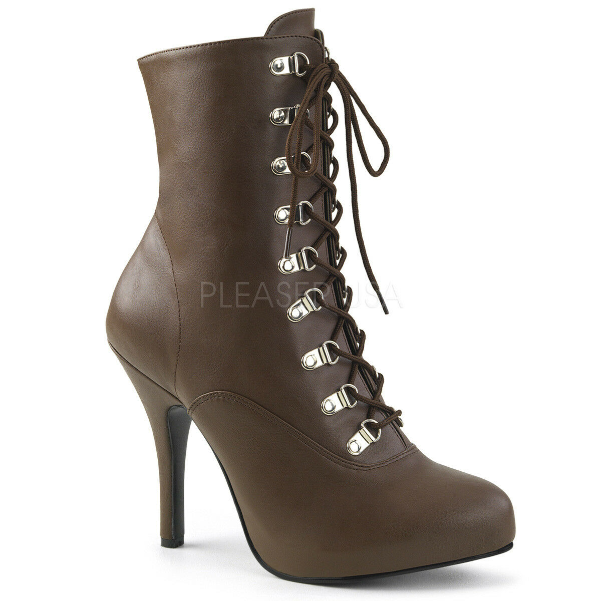 Pleaser EVE-106 Ankle/Mid-Calf Boots Brown Faux Leather Platform Victorian Heels