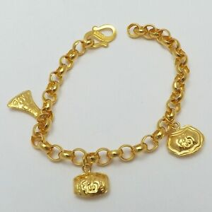 Details about New 24k  9999 Solid Gold Chinese Fu Fortune Blessings Baby  Bracelet 5