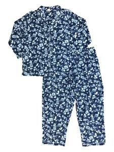 Womens Navy Blue Rose Floral Print Pajamas Plus Size ...