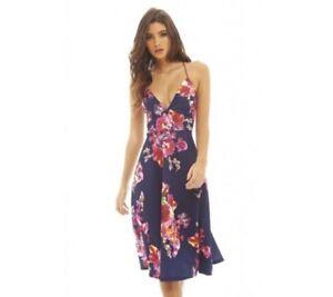 0f2d789ec2 Details about Women s Strappy Shift Style Floral V-Neck Midi Skater Dress  Size 12