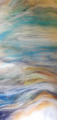 Beach Hut Arco Iris Chispa cardada Arte Batt 10-100g blanda lana y seda de fieltro o Spin