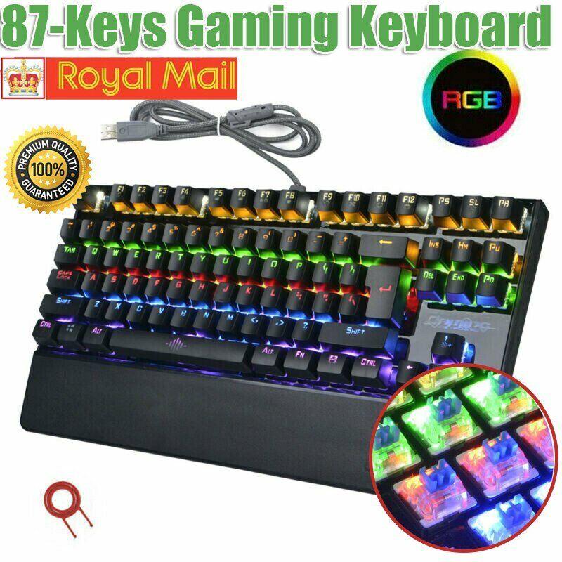 USB Wired 87-Keys Gaming Mechanical Keyboard RGB LED Light Rainbow Backlight WD