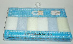 SNUGLY BABY 6 Pack Washcloth Set BLUE Gift Packaged