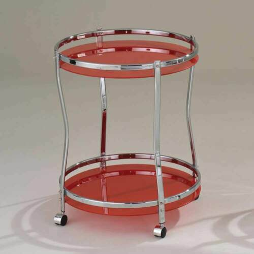 Corey Modern Kitchen Round Serving Cart Red Glass Chrome 2 Shelves Rolling Base