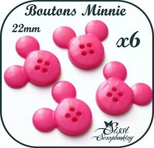 LOT-6-BOUTONS-MINNIE-ROSE-FUCHSIA-ENFANT-SCRAPBOOKING-COUTURE-SCRAP-NAISSANCE