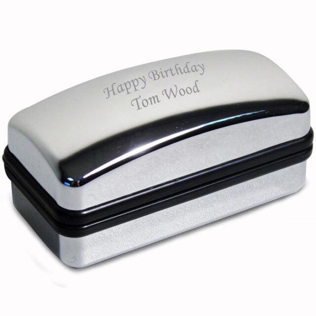 Personalised Chrome Polished Cufflink Box - Free Engraving - Weddings, Birthday