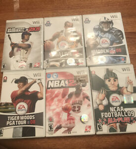 Lot-of-6-Wii-Sports-Games-NCAA-Football-2k-Madden-Tiger-Woods-NBA-MLB-TESTED