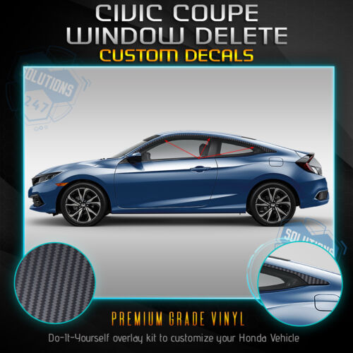 For 2016-2020 Honda Civic Coupe Window Trim Chrome Delete Kit Matte Carbon Fiber