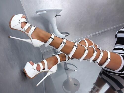 White 19 Escarpins Talons Bottes 1969 Sexy Sandales Fetish À Hauts Plateforme Cm De Sky qzwd5