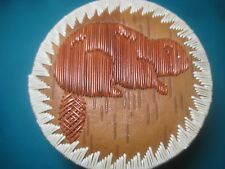"4"" BEAVER BOX Great Lakes Indian Porcupine Quill Birch Bark Basket Ojibwe"