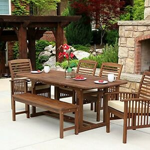 We Furniture Solid Acacia Wood Patio Extendable Dining Table New