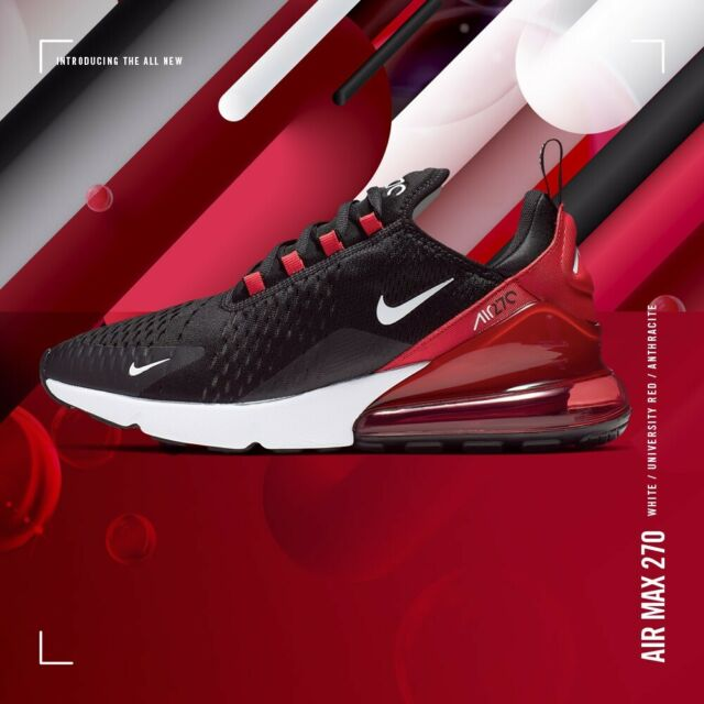 Nike Air Max 270 Bred Black Red White Running Shoes Ah8050 022 Men S Size 11 For Sale Online Ebay