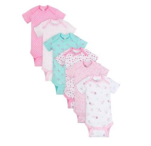 Wonder Nation Baby Girl 6-Pack Short Sleeve Bodysuits Size 12M