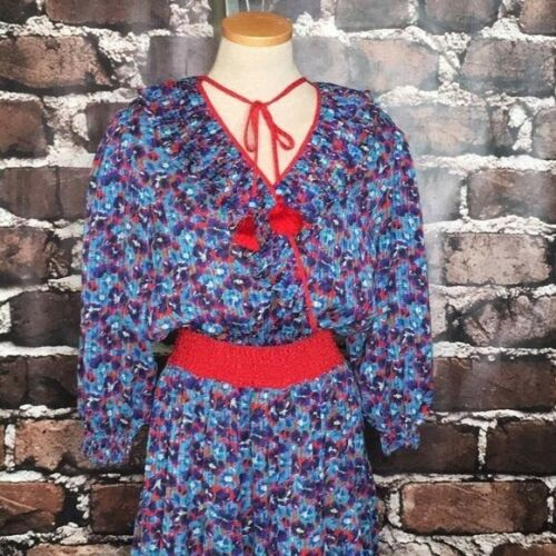 Diane Fres Dress Georgette Vintage Boho Flowers Bl