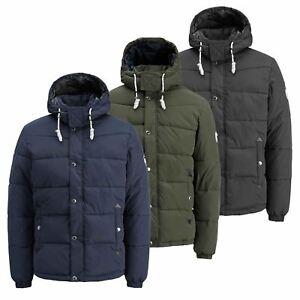 JACK-amp-JONES-Figure-Mens-Jacket-Hooded-Zip-Up-Padded-Bomber-Coat