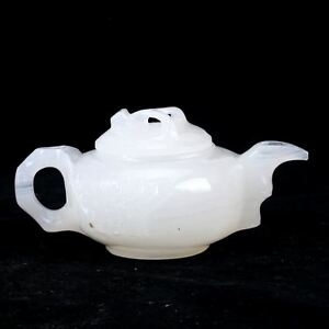 100-Natural-White-Jade-Hand-Carved-Flower-amp-Cover-Teapot