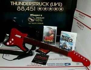 CUSTOM with Dongle MIC 2 Games Wii Rock Band 2 Fender Stratocaster Guitar Bundle